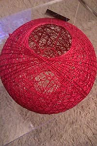 Red rattan ceiling lightshade / wicker woven light shade