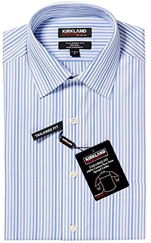 KIRKLAND SIGNATURE TAILORED FIT NON-IRON, STAIN MANAGEMENT BLUE/GRAY STRIPPED DRESS SHIRT (17-34/35) (Dress Shirts 17 34 35 compare prices)
