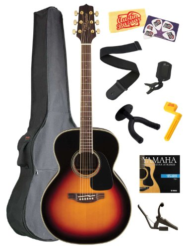 Takamine Gn51 Nex Body Solid Spruce Top Acoustic Guitar With Rosewood Fretboard Bundle With Gig Bag, Strings, Capo, Strap, Wall Hanger, Tuner, Stringwinder, Picks, And Polishing Cloth - Brown Sunburst