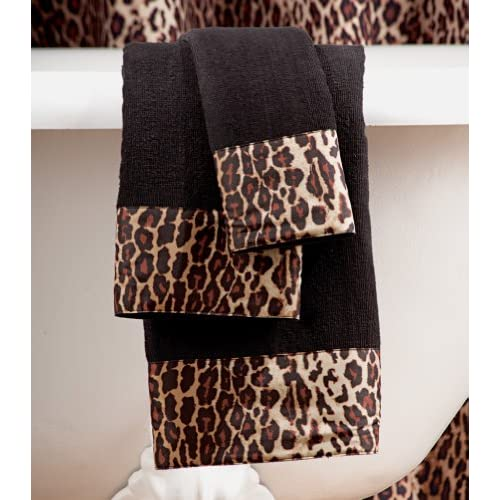 Black Brown Safari Animal Print Glam Leopard Bathroom Powder Room 3
