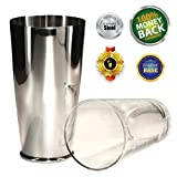 Boston Shaker Premier 28 Ounce Quality Stainless Steel Weighted Cocktail Shaker and 1 Pint Tempered Mixing Glass - Precisely Weighted for Stability - Preferred by Pros and Amateurs Alike