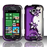 For Samsung ATIV Odyssey i930 (Verizon) Rubberized Design Cover - Purple/Silver Vines