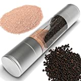 Salt and Pepper Grinder Set, 2 in 1 Stainless Steel Model of Highest Quality. The Salt Mill and Pepper Grinder Combines Two Mills Into One Dual Ended Design.