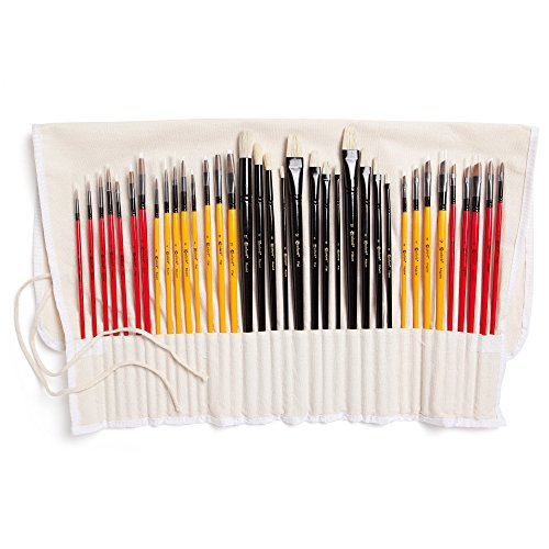 Colore Art Paint Brushes With Nylon Wrapping Case - Complete PACK of 36 Professional Grade Paint Brush Set - 12 Acrylic, 12 Oil & 12 Watercolor Paintbrushes - Lightweight and Durable Painting Supplies (Watercolor And Acrylic Paint Set compare prices)