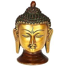 Kapasi Handicrafts Antique Lord Buddha Head Brass Idol Statues (3.5 x 3.5 x 5 Inches)