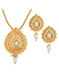 The Jewelbox Filigree 22K Gold Plated Pearl Pendant Chain Earring Set For Women