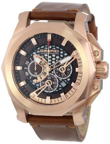 Orefici ORM2C4857V Men's Vintage Gladiatore Brown Dial Brown Suede Strap Chrono Watch