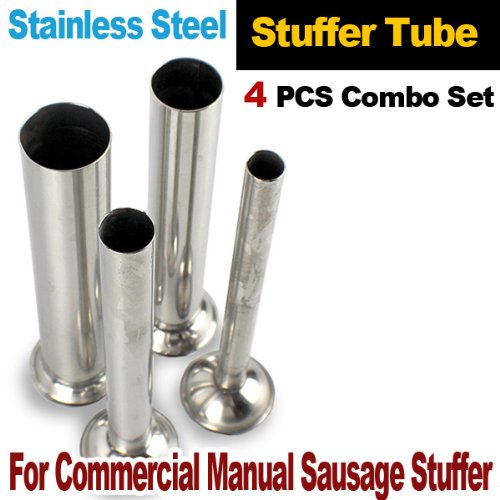 New 4pcs Set Commercial Manual Sausage Stuffer Stainless Steel Tubes Grinder (Mtn Commercial Stainless Steel compare prices)