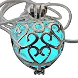 Wishing Heart Fairy Magical Fairy Glow in the Dark Necklace-aqua-sil