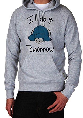 Awesome Snorlax Sleeping Ill Do It Tomorrow Pokemon Go Hoodie Custom Made Hooded Sweatshirt (XL)