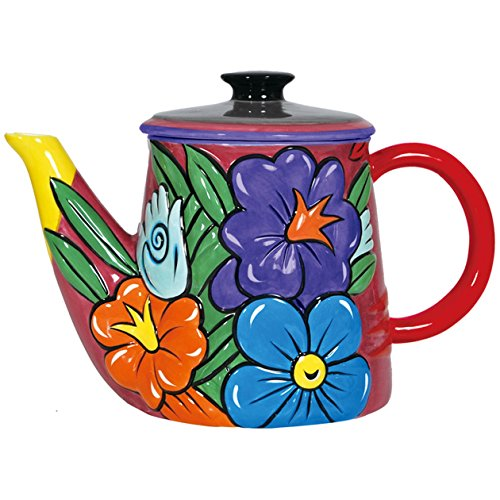 Westland Giftware 7.5-Inch Burton Morris Flowers Ceramic Teapot, 52-Ounce