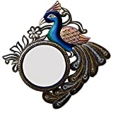 Ghanshyam Art Wood Peacock Wall Mirror (40.64 Cm X 4 Cm X 40.64 Cm, GAC088)