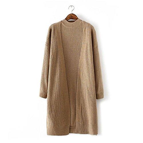 Moda Ladies' maglia collo alto Cardigan twin set