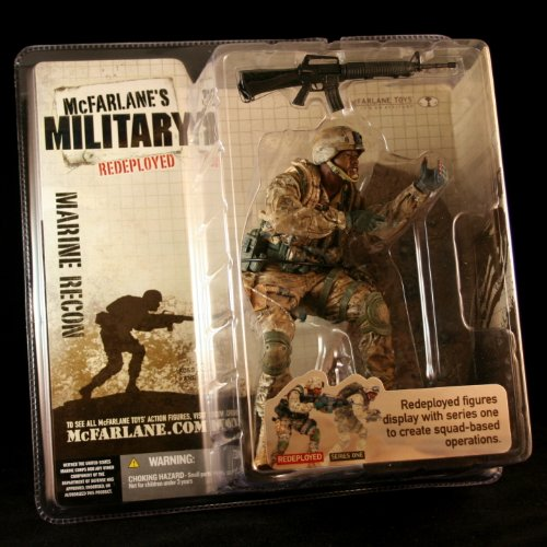 MARINE CORPS RECON * AFRICAN AMERICAN VARIATION * McFarlane's Military Redeployed Series 1 Action Figure & Display Base (M4 Rangers Combat Knives compare prices)