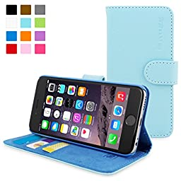 Snugg iphone-6-plus-flip-bblue Leather Wallet Case for iPhone 6 Plus - Baby Blue