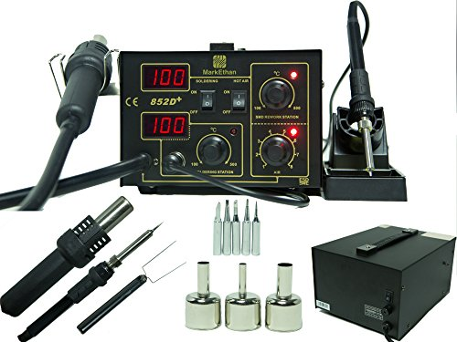 Review 2 in 1 SMD Soldering Hot Air Rework Station + Stand 3 Nozzle 5 Tips 852d+ Iron Yihua