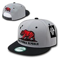 California Republic Flat Bill Snapback by WHANG (Grey/Black with Red Bear)