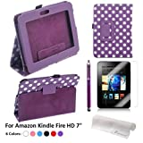 Foxnovo® Dots Pattern PU Case + Screen Guard + Stylus Pen + Cloth Set for Amazon Kindle Fire HD 7-inch Tablet PC