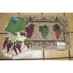 Home kitchen kitchen dining kitchen table linens kitchen rugs mats - Grape design kitchen rugs ...