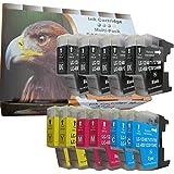 10 kompat. XL Druckerpatronen für Brother LC1240 LC1220 LC1280 (4 x schwarz 2 x blau 2 x rot 2 x gelb)