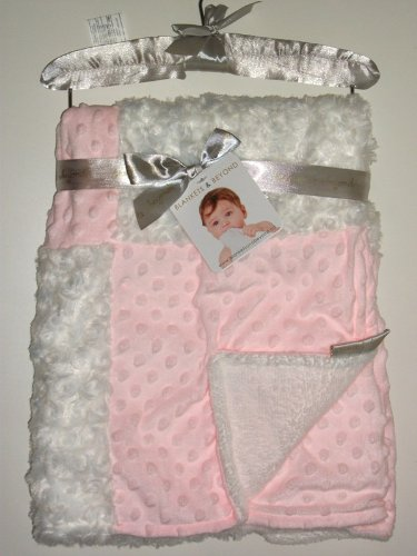 Blankets & Beyond Rosette and Dots Baby Blanket, Pink and White W/ Decorative Satin Hanger - 1