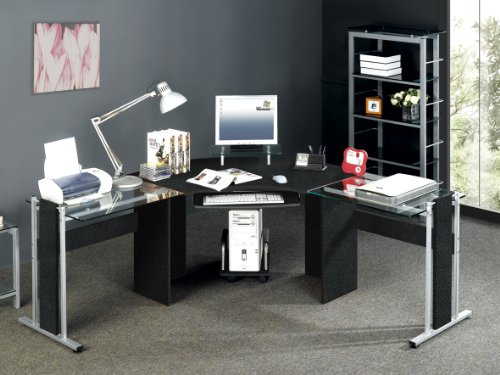 Black PC Computer Desk Glass Table New Home Office New