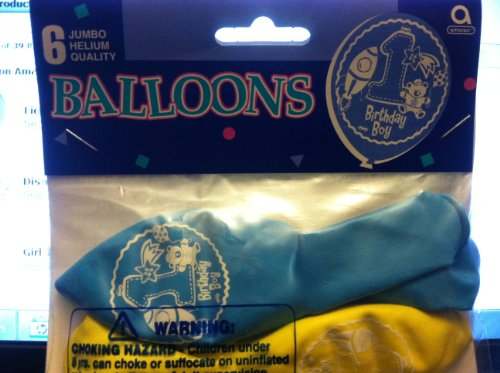 1st Birthday Boys Latex Balloons 6 Count - 1