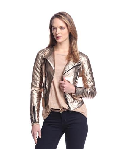 W118 by Walter Baker Women's Tiara Faux Leather Motorcycle Jacket  [Bronze]