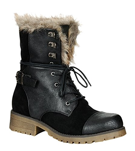 STYLUXE Women's Martin Faux Suede-leather and Faux Fur Trimed Black Combat Boots