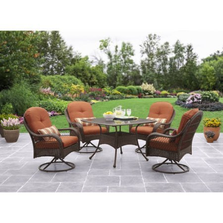 Better Homes and Gardens Azalea Ridge 5-Piece Patio Dining Set, Seats 4 - Burnt Orange