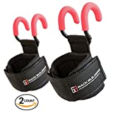 Women's Lifting Hooks with Supporting Wrist Wraps | Non Slip Coating and Thick Neoprene Padding Designed for Deadlifts, Rows, Pulldowns, and Shrugs