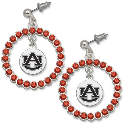 Auburn Tigers Spirit Crystal Logo Wreath Earrings at Amazon.com