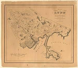 Vintage 1829 Map Of Map Of Lynn And Saugus Settled In 1629 Lynn Massachusetts