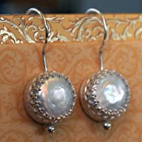 Tudor Pearl Earrings in Sterling Silver