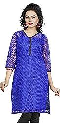 Twinkal Women's Raschel Net Straight Fit Kurti / Kurta (Twkr00088, Blue, M)