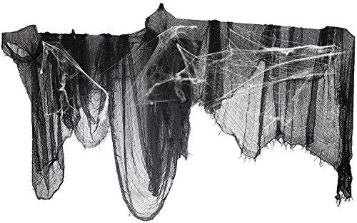 "296"" x 55"" Black Creepy Cloth + Fake Cotton Spider Web- Halloween Prop Bar Party Decoration Supplies"