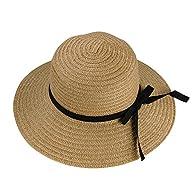 NSSTAR Woman Bohemia Straw hat w/ Wide Brim Roll-up Sun Visor