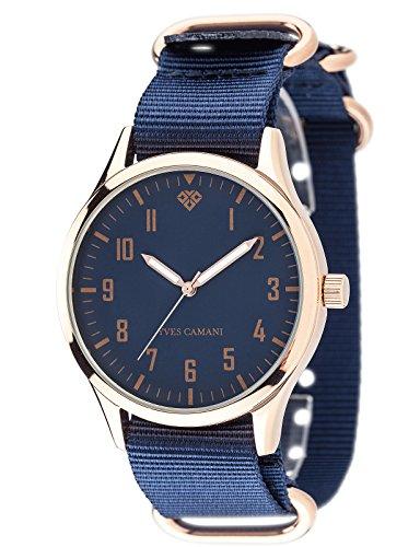 Yves Camani - YC1084-G - Unisson - Montre Mixte - Quartz Analogique - Cadran Bleu - Bracelet Nylon Multicolore