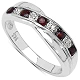 The Garnet Ring Collection: Garnet & Diamond Channel Set Crossover Eternity Ring in Sterling Silver (Size U