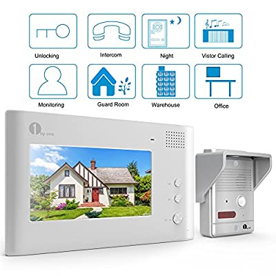 1byone Video Doorphone 2-Wires Video Intercom System 7-inch Color Monitor and Pinhole HD Camera Video Doorbell with 49ft Cable