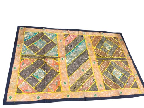 India Vintage Black Golds Sari Tapestry Patchwork Wall Hanging Throw front-772347