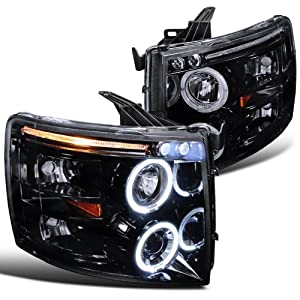 Chevy Silverado Glossy Black Housing Halo Led Projector Head Lights