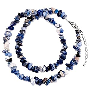 Pugster Genuine Dazzling Blue Black Charm Gemstone Nugget Chips Stretch Pendant Necklace For Women