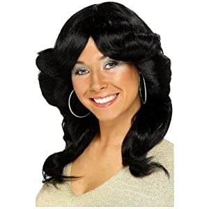 ADULT WOMENS BLACK SEVENTIES FLICK WIG 1970'S DISCO SMIFFYS FANCY DRESS COSTUME