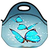Snoogg Blue Butterfly Digital Travel Outdoor Carry Lunch Bag Picnic Tote Box Container Zip Out Removable Carry...