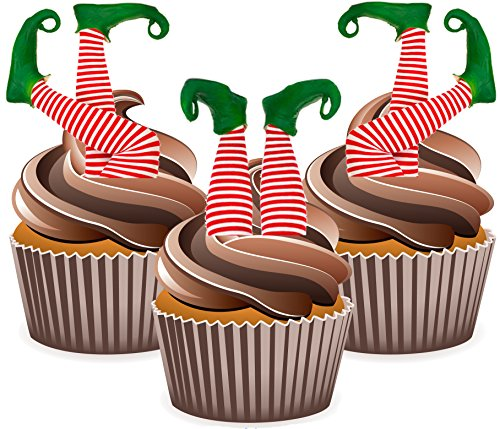 elf-elves-legs-in-stockings-12-christmas-cup-cake-toppers-edible-stand-up-decorations