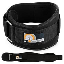Proworks Premium Black Weight Lifting & Bodybuilding Lumbar Back Support Gym Belt (Medium)