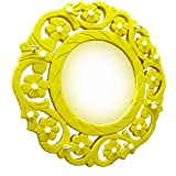 Yellow Wooden Carved Wall Mirror