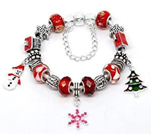 Christmas Red Pandora Style Single Clasp Charm Bracelet - 20cm - Ideal Christmas Present