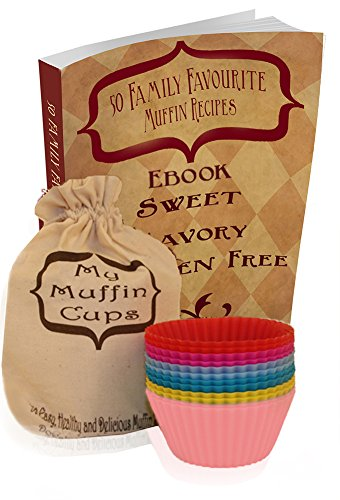 Silicone Muffin and Cupcake Baking Liners 12 Piece with 50 Recipe eBook and Storage Bag in Assorted Colors